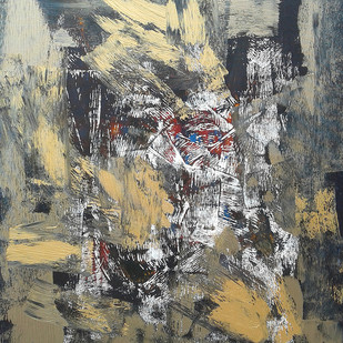 UNTITLED XIII by Maredu Ramu, Abstract Painting, Acrylic on Canvas, Gray color