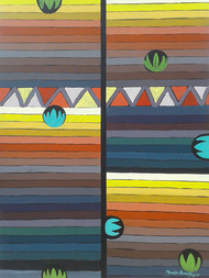UNTITLED VIII by Maredu Ramu, Geometrical Painting, Acrylic on Canvas, Brown color