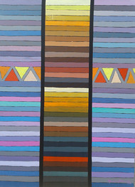 UNTITLED IX by Maredu Ramu, Geometrical Painting, Acrylic on Canvas, Brown color