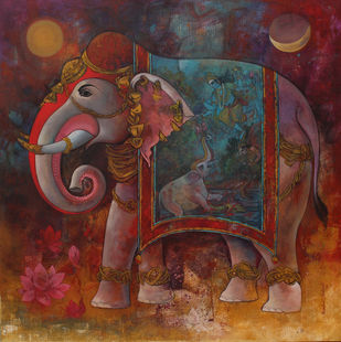 Gajendra moksha by Rajeshwar Nyalapalli, Traditional Painting, Acrylic on Canvas, Brown color