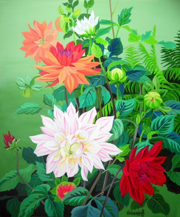 Colorful Dahlias by Vishwajyoti Mohrhoff, Impressionism Painting, Acrylic on Canvas, Green color