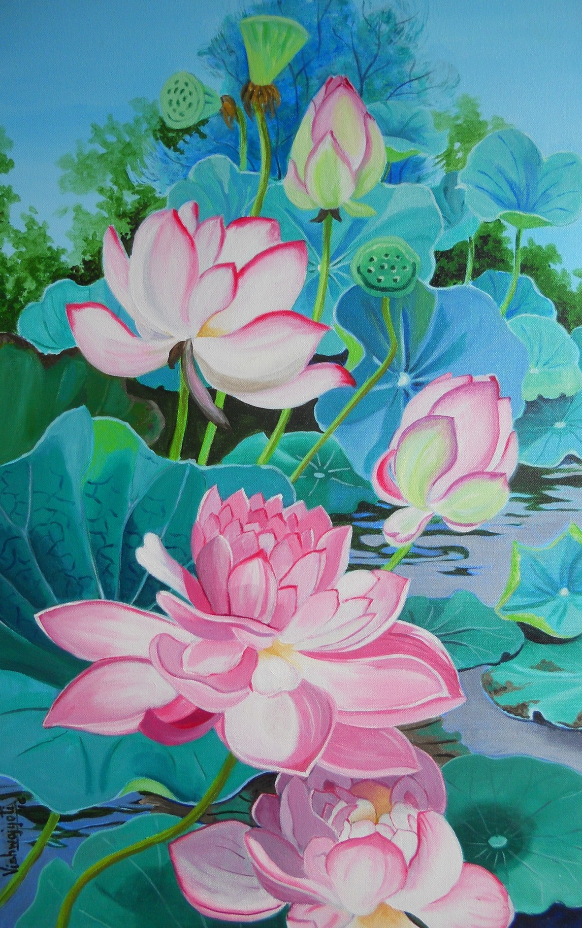 Multipetalled Pink lotus by Vishwajyoti Mohrhoff, Impressionism Painting, Acrylic on Canvas, Cyan color