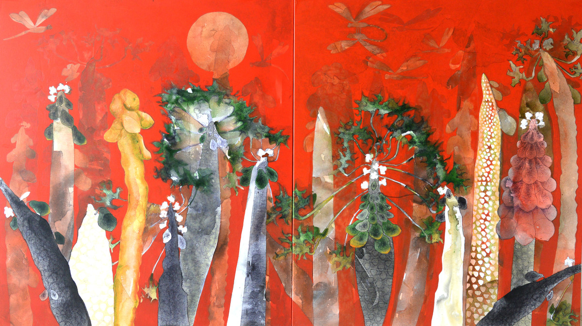 Moonlight Dream by Jeevan Salian, Impressionism Painting, Mixed Media on Canvas, Brown color