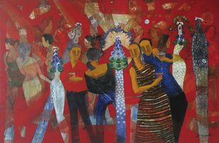 Party Time by Jeevan Salian, Impressionism Painting, Mixed Media on Canvas, Brown color