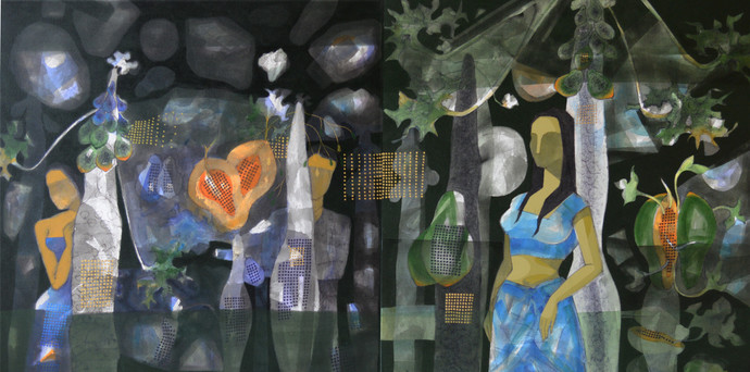 Dream (Diptych) by Jeevan Salian, Impressionism Painting, Mixed Media on Canvas, Green color