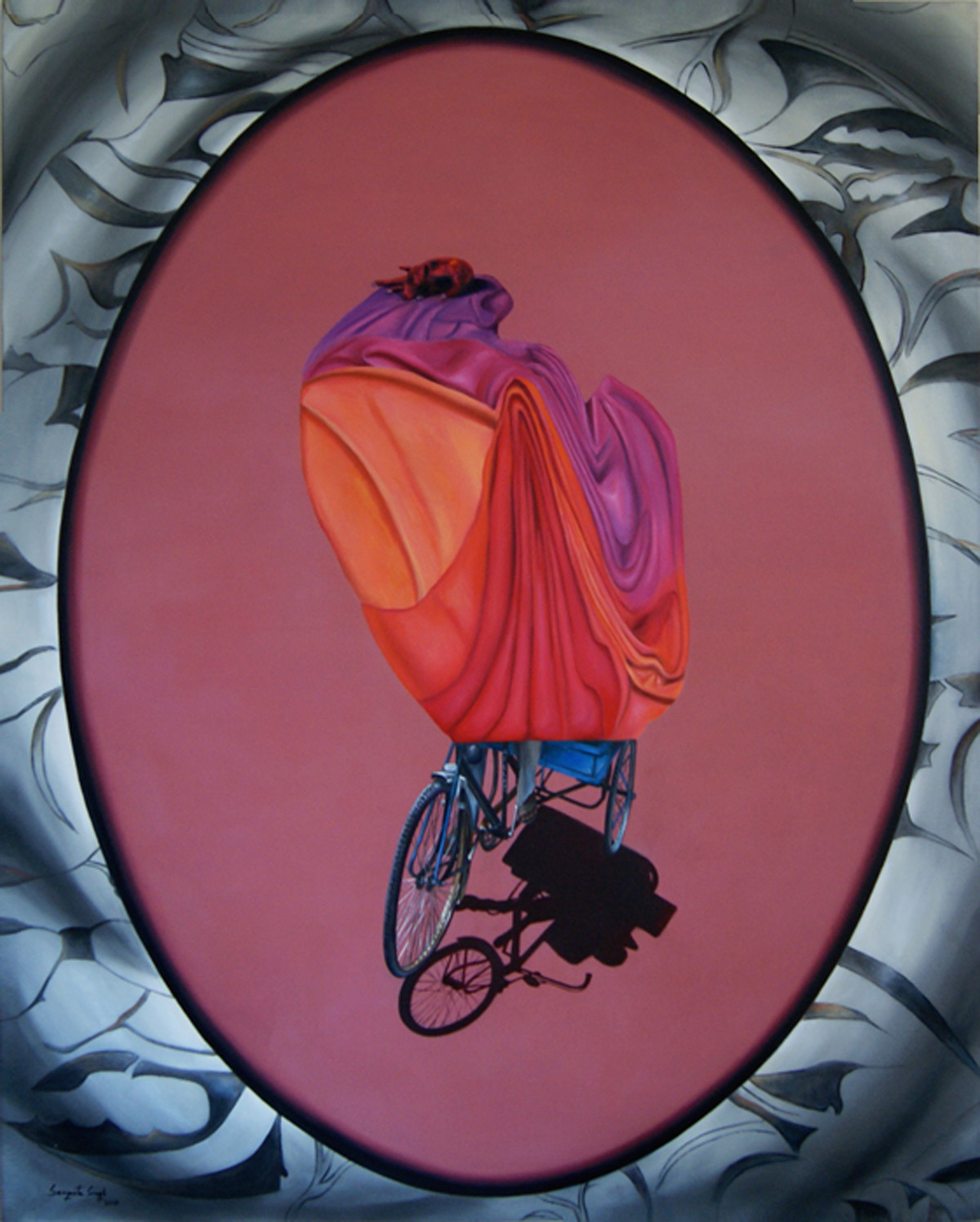 Chal Chala Chal by Sangeeta Singh, Conceptual Painting, Oil on Canvas, Brown color