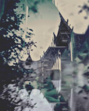 Temple And Time by Tanya Palta, Image Photograph, Digital Print on Paper, Gray color