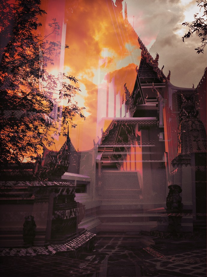 Temple And Time Sunset by Tanya Palta, Image Digital Art, Drypoint on Paper, Brown color