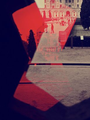 Humayun Tomb in Red by Tanya Palta, Image Photography, Digital Print on Paper, Blue color