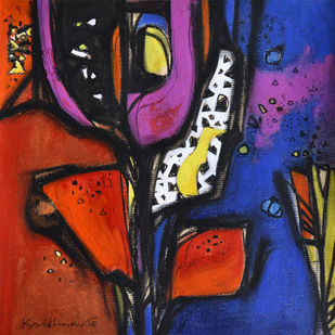 Nature by Krishna Pulkundwar, Expressionism Painting, Mixed Media on Paper, Blue color