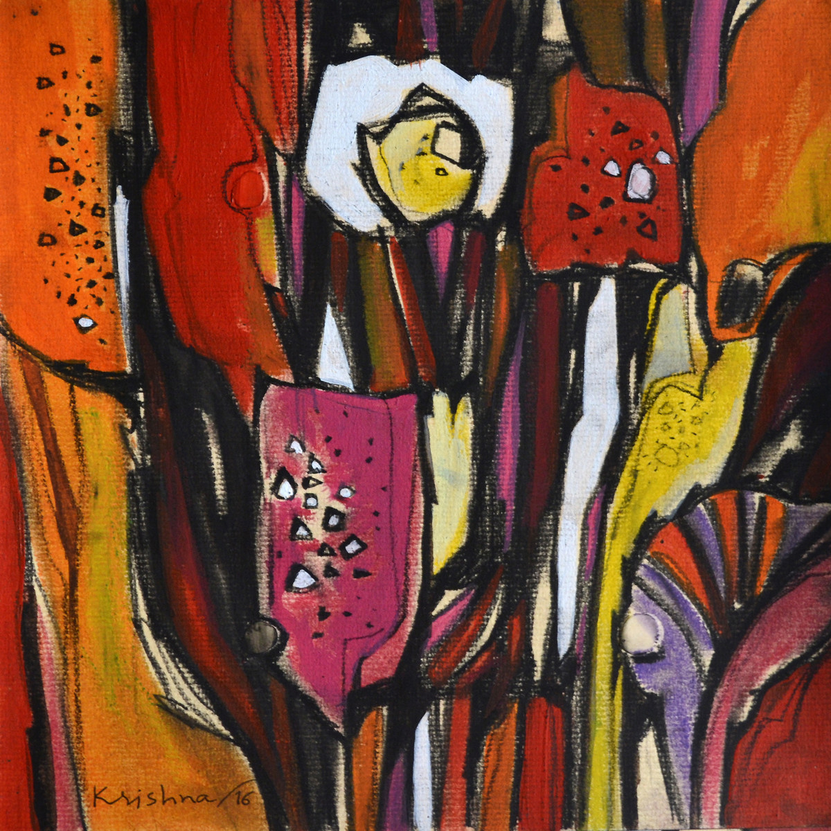 Nature by Krishna Pulkundwar, Impressionism Painting, Mixed Media on Paper, Brown color