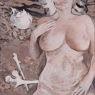 India Nude 1 by Julius Macwan, Realism Painting, Acrylic on Canvas, Brown color