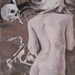India Nude 2 by Julius Macwan, Realism Painting, Acrylic on Canvas, Gray color