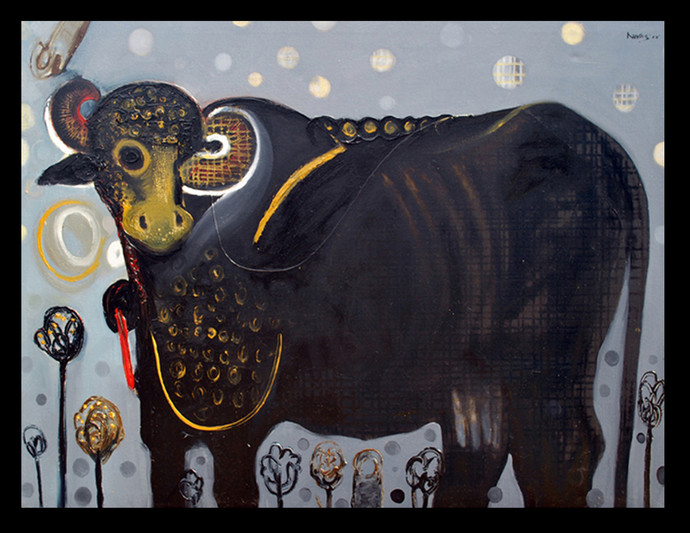 Buffalo by Nivas Kanhere, Conceptual Painting, Oil on Canvas, Gray color