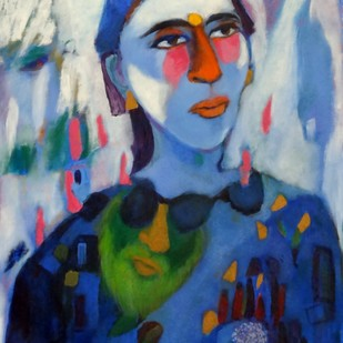 Life's Garden by Aradhna Tandon, Expressionism Painting, Oil & Acrylic on Canvas, Blue color