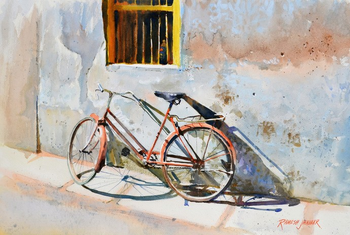 Rest by Ramesh Jhawar, Impressionism Painting, Watercolor on Paper, Gray color