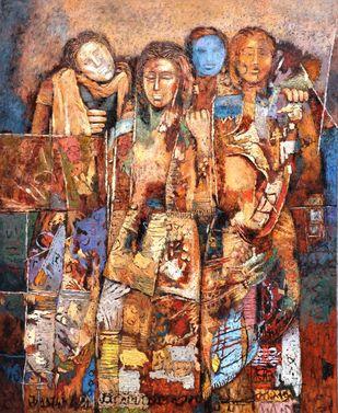 Baarat by Jiten Hazarika, Expressionism Painting, Oil on Canvas, Brown color