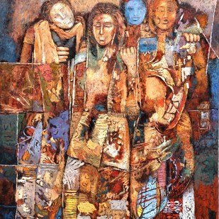 Baarat by Jiten Hazarika, Expressionism Painting, Oil on Canvas, Brown color
