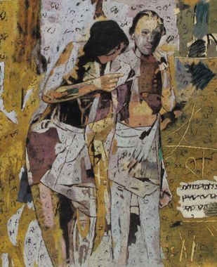Together by Jiten Hazarika, Expressionism Painting, Oil on Canvas, Brown color
