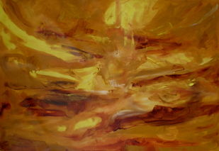 Golden Realms by Deepa Kern, Impressionism Painting, Oil on Canvas, Brown color