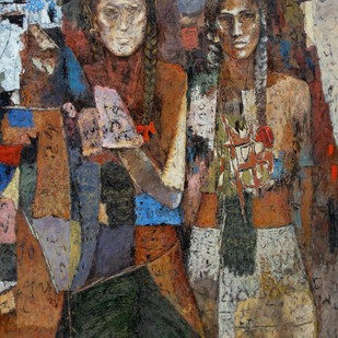 Sisters by Jiten Hazarika, Expressionism Painting, Oil on Canvas, Brown color