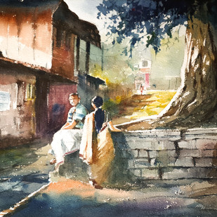 Resting by Mopasang Valath, Expressionism Painting, Watercolor on Paper, Brown color
