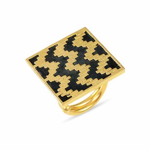 IKAT DIAMOND by , Contemporary Ring, Brass, White color
