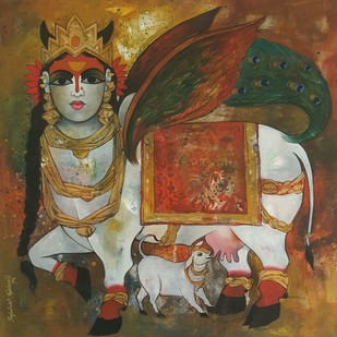 surabhi by Rajeshwar Nyalapalli, Conceptual Painting, Acrylic on Canvas, Brown color