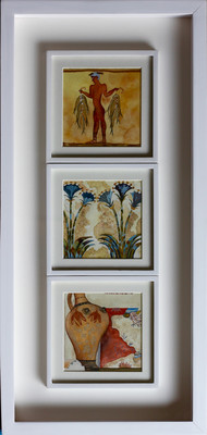 1. GREECE MEMORIES-1 (vk-221) Akrotiri by Vijay Kiyawat, Expressionism Painting, Watercolor on Paper, Gray color
