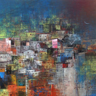 A 015  title a glimpse of village  acrylic on canvas  24 x 24 in