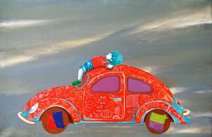Passion of the childhood iii by shiv kumar soni, Expressionism Painting, Acrylic on Canvas, Gray color