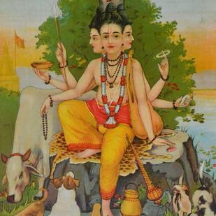 Aadumbarnivasi Datt by Raja Ravi Varma, Illustration Printmaking, Lithography on Paper, Brown color