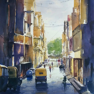 untitled 2 by Sunil Linus De, Impressionism Painting, Watercolor on Paper, Blue color