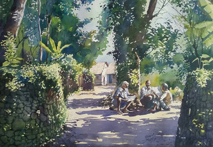 People of village by Sunil Linus De, Impressionism Painting, Watercolor on Paper, Green color