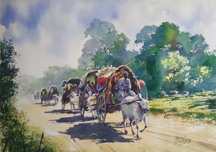 Odyssia by Sunil Linus De, Impressionism Painting, Watercolor on Paper, Gray color