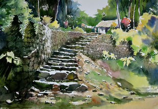 Village beauty by Sunil Linus De, Impressionism Painting, Watercolor on Paper, Green color