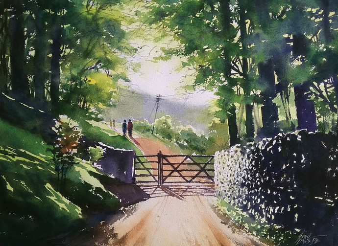 morning light by Sunil Linus De, Impressionism Painting, Watercolor on Paper, Green color