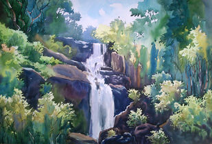 waterfall by Sunil Linus De, Impressionism Painting, Watercolor on Paper, Green color