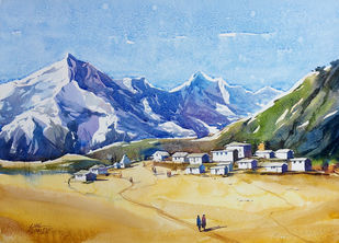 valley end by Sunil Linus De, Impressionism Painting, Watercolor on Paper, Cyan color