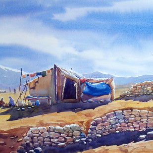 peace valley by Sunil Linus De, Impressionism Painting, Watercolor on Paper, Cyan color