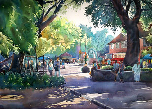 Beauty of Day light by Sunil Linus De, Impressionism Painting, Watercolor on Paper, Green color