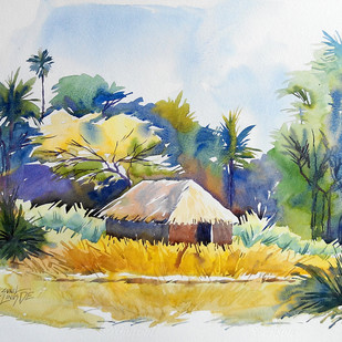 Colors of innocent by Sunil Linus De, Impressionism Painting, Watercolor on Paper, Beige color