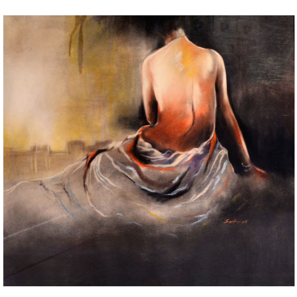 untitled by Swapan Das, Expressionism Painting, Oil Pastel on Paper, Brown color