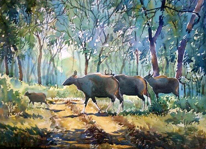 Journey to survival by Sunil Linus De, Impressionism Painting, Watercolor on Paper, Green color