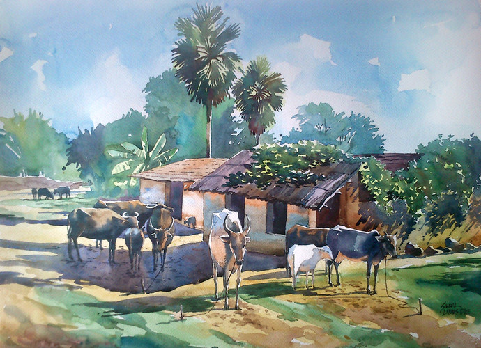 Behind the home by Sunil Linus De, Impressionism Painting, Watercolor on Paper, Cyan color