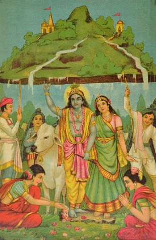Govardhan by Raja Ravi Varma, Illustration Printmaking, Lithography on Paper, Green color