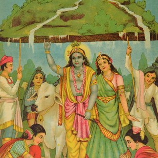 Govardhan by Raja Ravi Varma, Illustration Printmaking, Lithography on Paper, Green color