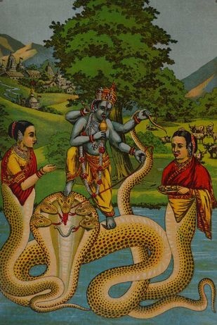 Kaliya Marthan by Raja Ravi Varma, Illustration Printmaking, Lithography on Paper, Green color