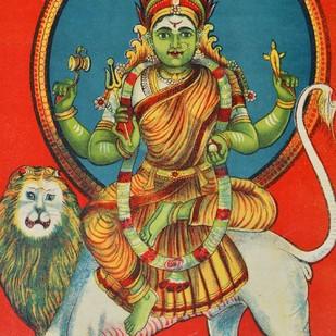 Kaliya Mman by Raja Ravi Varma, Illustration Printmaking, Lithography on Paper, Brown color