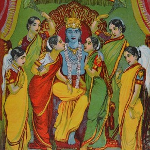 Krishna Panchayatan by Raja Ravi Varma, Illustration Printmaking, Lithography on Paper, Brown color